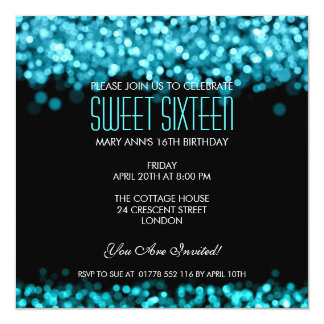 "Elegant Sweet Sixteen Sparkling Lights Blue 5.25"" Square Invitation Card"