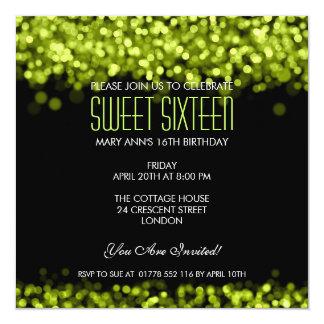 Elegant Sweet Sixteen Sparkling Lights Green Card