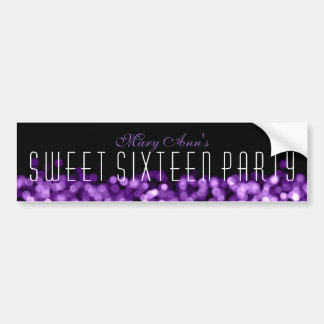 Elegant Sweet Sixteen Sparkling Lights Purple Car Bumper Sticker