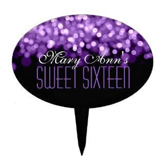 Elegant Sweet Sixteen Sparkling Lights Purple Cake Topper