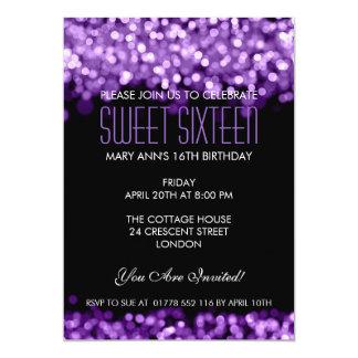 "Elegant Sweet Sixteen Sparkling Lights Purple 5"" X 7"" Invitation Card"