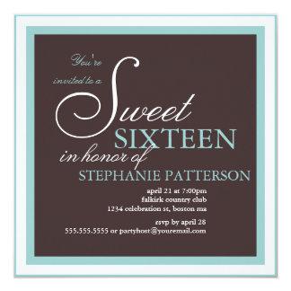 Elegant Sweet Sixteen Teal Brown Party Invitation