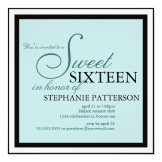 Elegant Sweet Sixteen Teal Invitation