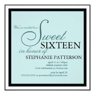Elegant Sweet Sixteen Teal Invitation