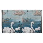 Elegant Swimming White Swan Baby Swan iPad Folio Cover
