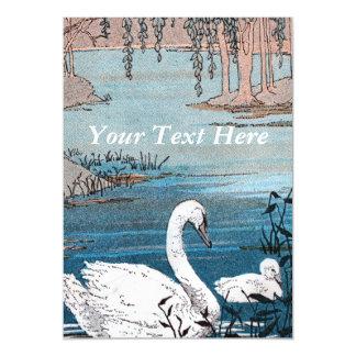 Elegant Swimming White Swan Baby Swan Magnetic Card