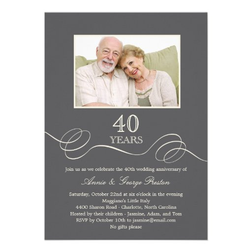 Elegant Swirl Anniversary Photo Invitation - Gray (front side)
