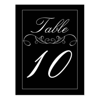 Elegant Swirl Black Wedding Table Number Cards
