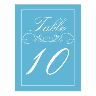 Elegant Swirl Blue Wedding Table Number Cards