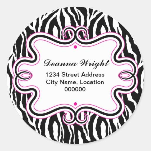 Elegant Swirl Border and Zebra Print Stickers