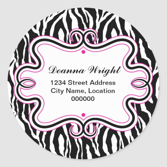 Elegant Swirl Border and Zebra Print Stickers