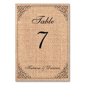 Elegant Swirl Burlap Personalized Table Card