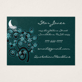 Elegant Swirl Business Card - With Moon