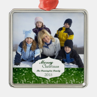 Elegant swirl christmas holiday photo ornament