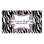 Elegant Swirl Frame & Zebra Print Business Cards