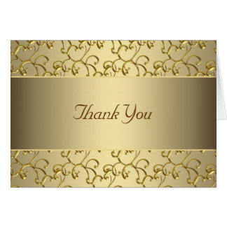 Elegant Swirl Gold Thank You Card