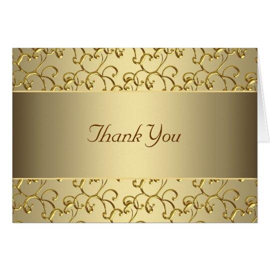 Elegant Swirl Gold Thank You Card