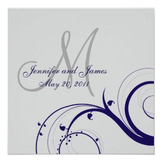 Elegant Swirl Grey and Navy Wedding Invitation