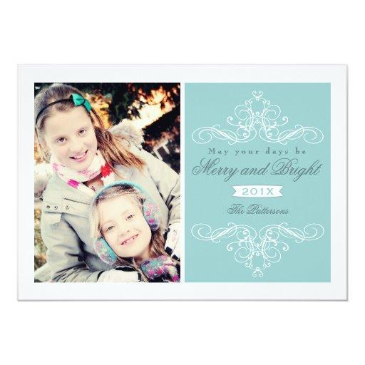 "Elegant Swirl Modern Vintage Christmas Photo Card 5"" X 7"" Invitation Card"