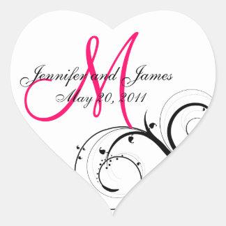 Elegant Swirl Monogram Wedding Favour Labels Heart Sticker