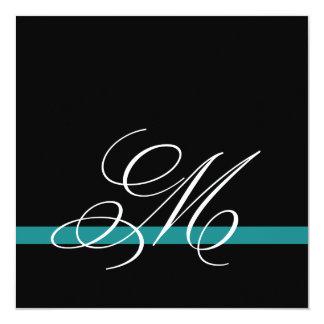 Elegant Swirl Monogram Wedding Invitations Jade