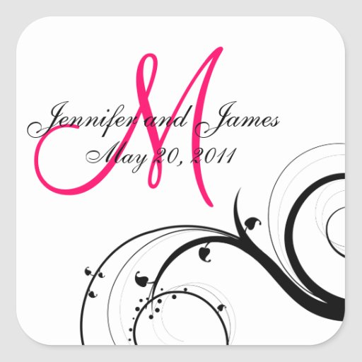 Elegant Swirl Monogram Wedding Square Labels Sticker