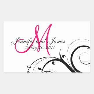 Elegant Swirl Monogram Wedding Wine Labels Rectangular Sticker