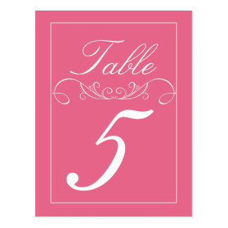 Elegant Swirl Pink Wedding Table Number Cards