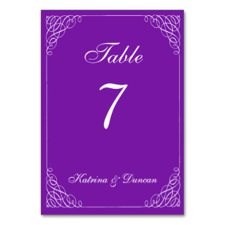 Elegant Swirl Purple Personalized Table Card