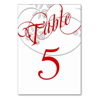 Elegant Swirl Red and White Numbered Table Cards