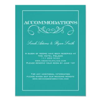 Elegant Swirl Turquoise Accommodations Card Invite