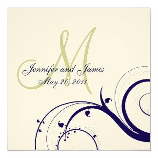 Elegant Swirl Wedding Invitation Navy Green Cream