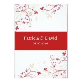 Elegant Swirl Wedding Invitations:Red And Ivory