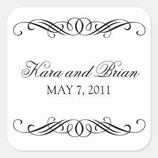 Elegant Swirl Wedding Square Sticker