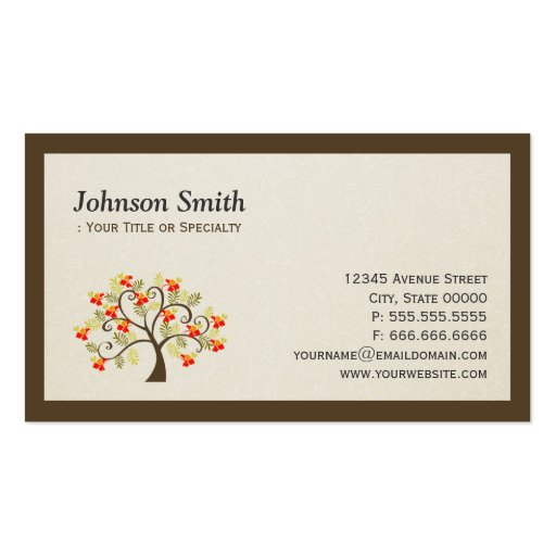 Elegant Swirl Whimsical Tree - Modern Professional Business Card Templates