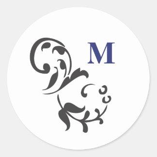 Elegant Swirl with Monogram-navy Round Stickers