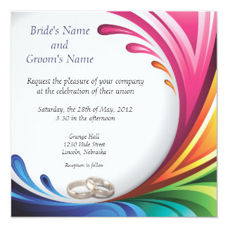 Elegant Swirling Rainbow Splash Invite - 3