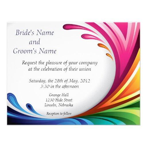 Personalized Rainbow wedding Invitations CustomInvitations4Ucom