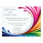 "Elegant Swirling Rainbow Splash Invite - 4 4.25"" X 5.5"" Invitation Card"