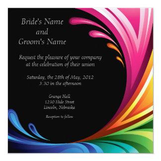 Elegant Swirling Rainbow Splash Invite on Black #2