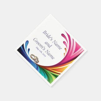 Elegant Swirling Rainbow Splash Napkin - 2
