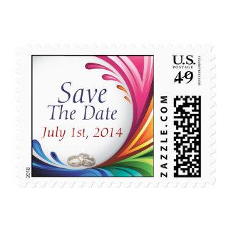 Elegant Swirling Rainbow Splash Save The Date Postage