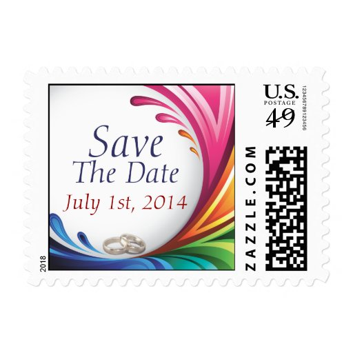 Elegant Swirling Rainbow Splash Save The Date Postage Stamp