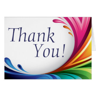 Elegant Swirling Rainbow Splash - Thank You - 1 Card