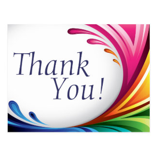 Elegant Swirling Rainbow Splash - Thank You - 2 Postcard