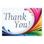 Elegant Swirling Rainbow Splash - Thank You - 3 3.5x5 Paper Invitation Card