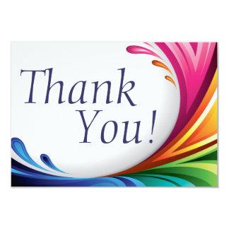 Elegant Swirling Rainbow Splash - Thank You - 3 Card
