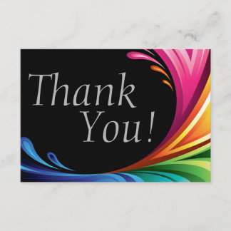 Elegant Swirling Rainbow Splash - Thank You - 4