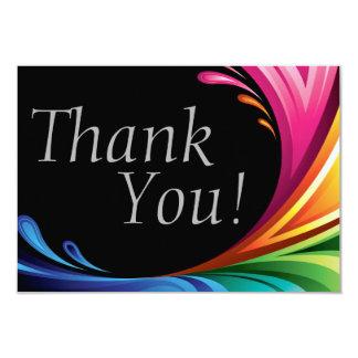 Elegant Swirling Rainbow Splash - Thank You - 4 Card