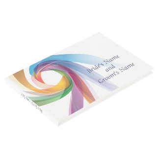 Elegant Swirling Rainbow Wedding Guestbook